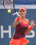Kristina Mladenovic (FRA) loses the first set to Roberta Vinci (ITA) 6-3 at the US Open in Flushing, NY on September 8, 2015.