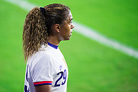 ORLANDO, FL - JANUARY 18: Catarina Macario #29 of the USWNT waits for the kick during a game between Colombia and USWNT at Exploria Stadium on January 18, 2021 in Orlando, Florida.