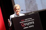 President of Madrid Community Cristina Cifuentes during the 21st continuous reading of El Quijote. April 21,2017. (ALTERPHOTOS/Acero)