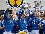 St Johnstone v Hibs…22.05.21  Scottish Cup Final Hampden Park<br />Jamie McCart lifts the Scottish Cup after defeating Hibs 1-0<br />Picture by Graeme Hart.<br />Copyright Perthshire Picture Agency<br />Tel: 01738 623350  Mobile: 07990 594431