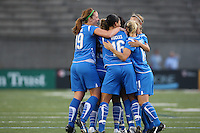 Angela Hucles celebrates with her teammates after scoring her second goal of the season. The Boston Breakers defeated the Chicago Red Stars 1-0, at Harvard Stadium, in Cambridge, MA, Wednesday, July 15, 2009.