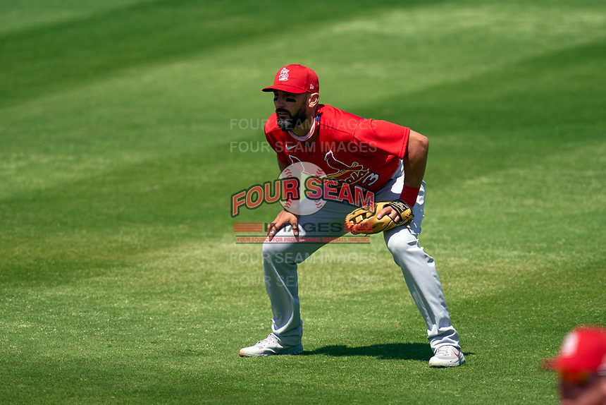 St. Louis Cardinals second baseman Matt Carpenter (13) during a Major League Spring Training game against the New York Mets on March 19, 2021 at Clover Park in St. Lucie, Florida.  (Mike Janes/Four Seam Images)