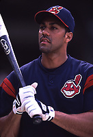 Juan Gonzalez of the Cleveland Indians during a 2001 season MLB game at Angel Stadium in Anaheim, California. (Larry Goren/Four Seam Images)