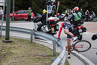 Jarlinson Pantano (COL/Trek-Segafredo) getting back over the barrier after having crashed over it<br /> <br /> 103rd Liège-Bastogne-Liège 2017 (1.UWT)<br /> One Day Race: Liège › Ans (258km)