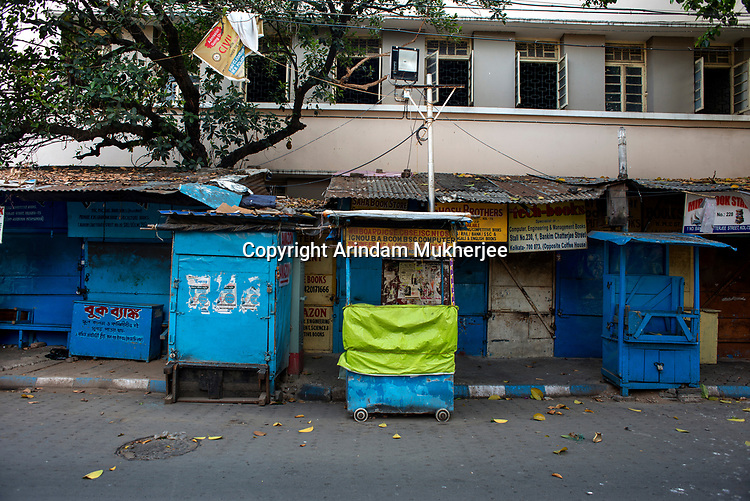 A deserted lane at the College street area in Kolkata, it is the largest book market in the country and is one of the most important and recognised places in the city. India is going through the 2nd phase of lockdown due to covid 19 pandemic. This is to curb the spread of Covid 19 in the country. The second phase is handled with more strict rules by the administration. Kolkata, West Bengal, India. Arindam Mukherjee.