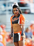 Oklahoma State Cowboys cheerleaders in action during the game between the Louisiana-Lafayette Ragin Cajuns and the Oklahoma State Cowboys at the Boone Pickens Stadium in Stillwater, OK. Oklahoma State defeats Louisiana-Lafayette 61 to 34.