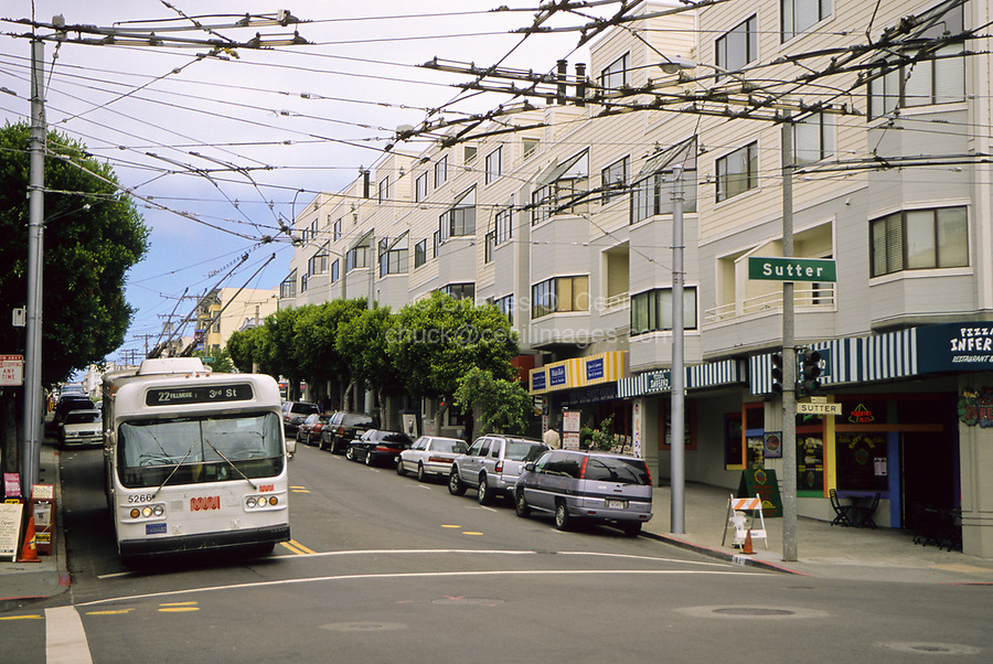 San Francisco, California - Electric Bus, Visual Pollution.  While saving fossil fuels, electric power necessitates electric wires that interfere with an otherwise unhindered view, creating a kind of visual pollution.