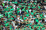 AS SAINT-ETIENNE vs FC LORIENT Football Match Ligue 1 Uber Eats. Saint-Etienne, France on August 8, 2021. In action football fans during the Covid-19 Delta Coronavirus Outbreak