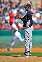 12 March 2011: New York Yankees' pitcher Hector Noesi looks towards home plate after serving up a solo homer to Laynce Nix during a Spring Training game against the Washington Nationals at Space Coast Stadium in Viera, Florida. The Nationals edged out the Yankees 6-5 in Grapefruit League action. Mandatory Credit: Ed Wolfstein Photo