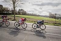 tucked speeding by Lukas Pöstlberger (AUT/Bora-Hansgrohe), Cyril Lemoine (FRA/Cofidis) & Dylan Teuns (BEL/BMC)<br /> <br /> 72nd Dwars Door Vlaanderen (1.UWT)<br /> 1day race: Roeselare › Waregem BEL (203.4km)