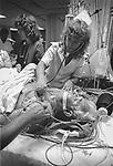 Scan of vintage print. Guthrie Robert Packer Hospital, Sayre, PA. Intensive care emergency. File #83-189-M. 1983
