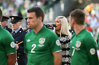 Aiden McGeady enjoying the Faroe Islands National Anthem