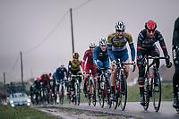 the peloton in the final 10km<br /> <br /> 73rd Dwars Door Vlaanderen 2018 (1.UWT)<br /> Roeselare - Waregem (BEL): 180km