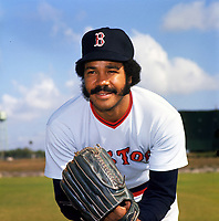 Boston Red Sox pitcher Juan Marichal (21) poses for a photo during Spring Training circa 1974 at Chain of Lakes Park in Winter Haven, Florida.  (Brearley Collection/Four Seam Images)