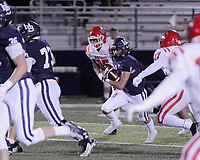 Har-Ber Wildcats Junior Lane Reiter (1) weaves through traffic during the first round play-off game against the Fort Smith Northside Grizzlies Friday, November 13, 2020, at Wildcat Stadium, Springdale, Arkansas (Special to NWA Democrat-Gazette/Brent Soule)