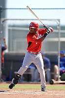 Cincinnati Reds outfielder Reydel Medina (35) during an Instructional League game against the Texas Rangers on October 3, 2014 at Surprise Stadium Training Complex in Surprise, Arizona.  (Mike Janes/Four Seam Images)