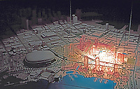 Vancouver: EXPO '86--Model, showing Apt. Blocks planning for area near BC Place after EXPO.