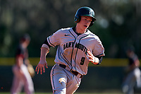 Dartmouth Big Green Ben Rice (9) running the bases during a game against the Omaha Mavericks on February 23, 2020 at North Charlotte Regional Park in Port Charlotte, Florida.  Dartmouth defeated Omaha 8-1.  (Mike Janes/Four Seam Images)