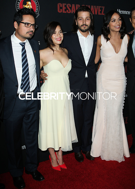 """HOLLYWOOD, LOS ANGELES, CA, USA - MARCH 20: Michael Pena, America Ferrera, Diego Luna, Rosario Dawson at the Los Angeles Premiere Of Pantelion Films And Participant Media's """"Cesar Chavez"""" held at TCL Chinese Theatre on March 20, 2014 in Hollywood, Los Angeles, California, United States. (Photo by Celebrity Monitor)"""