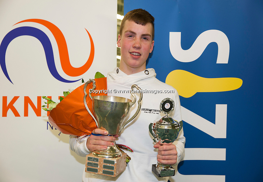Rotterdam, The Netherlands, March 20, 2016,  TV Victoria, NOJK 14/18 years, Winner boys 14 years:  Stijn Janssen (NED)<br /> Photo: Tennisimages/Henk Koster