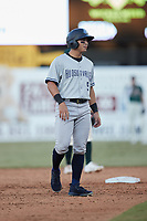 Anthony Volpe (5) of the Hudson Valley Renegades takes his lead off of second base against the Greensboro Grasshoppers at First National Bank Field on September 2, 2021 in Greensboro, North Carolina. (Brian Westerholt/Four Seam Images)