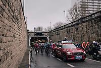 a neutralised peloton exiting out of the 'Konijnenpijp' ('Rabbit hole') to reach the other side of the Schelde river that cuts through Antwerp and moves towards Eastern Flanders<br /> <br /> 102nd Ronde van Vlaanderen 2018 (1.UWT)<br /> Antwerpen - Oudenaarde (BEL): 265km