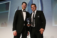 LONDON, ENGLAND - NOVEMBER 01:  Richie McCaw (R) of New Zealand receives the World Rugby Team of the Year award from John Eales (L) during the World Rugby Awards 2015 at Battersea Evolution on November 1, 2015 in London, England.  (Photo: World Rugby)
