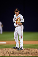 Frederick Keys relief pitcher Steve Klimek (27) looks in for the sign during the second game of a doubleheader against the Lynchburg Hillcats on June 12, 2018 at Nymeo Field at Harry Grove Stadium in Frederick, Maryland.  Frederick defeated Lynchburg 8-1.  (Mike Janes/Four Seam Images)