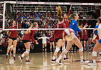 STANFORD, CA - NOVEMBER 17: Stanford, CA - November 17, 2019: Meghan McClure, Sidney Wilson, Jenna Gray, Holly Campbell at Maples Pavilion. #4 Stanford Cardinal defeated UCLA in straight sets in a match honoring neurodiversity. during a game between UCLA and Stanford Volleyball W at Maples Pavilion on November 17, 2019 in Stanford, California.