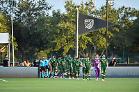 LAKE BUENA VISTA, FL - JULY 18: Portland Timbers players enter the field wearing masks during a game between Houston Dynamo and Portland Timbers at ESPN Wide World of Sports on July 18, 2020 in Lake Buena Vista, Florida.