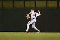 Salt River Rafters right fielder Luke Raley (53), of the Minnesota Twins organization, throws to the infield during an Arizona Fall League game against the Scottsdale Scorpions at Salt River Fields at Talking Stick on October 11, 2018 in Scottsdale, Arizona. Salt River defeated Scottsdale 7-6. (Zachary Lucy/Four Seam Images)