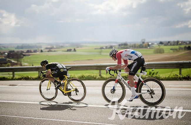 Anthony Turgis (FRA/Direct Energie) & Mathieu Van Der Poel (NED/Correndon-Circus) speeding towards Waregem<br /> <br /> 74th Dwars door Vlaanderen 2019 (1.UWT)<br /> One day race from Roeselare to Waregem (BEL/183km)<br /> <br /> ©kramon