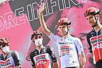 Harm Vanhoucke (BEL) Lotto Soudal wearing the Maglia Bianca at sign on before the start of Stage 7 of the 103rd edition of the Giro d'Italia 2020 running 143km from Matera to Brindisi, Sicily, Italy. 9th October 2020.  <br /> Picture: LaPresse/Gian Mattia D'Alberto | Cyclefile<br /> <br /> All photos usage must carry mandatory copyright credit (© Cyclefile | LaPresse/Gian Mattia D'Alberto)