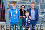 Jamie Moriarty Ardfert NS student receiving his First Holy Communion in Ardfert on Saturday.<br /> l to Jack Moriarty, Caroline Casey, Jamie and Denis Moriarty.