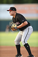 Andrew Vaughn (14) of the Kannapolis Intimidators in action during a game against the Hickory Crawdads at L.P. Frans Stadium on July 16, 2019 in Hickory, North Carolina. The Crawdads defeated the Intimidators 5-4. (Tracy Proffitt/Four Seam Images)