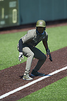 Enrique Bradfield Jr. (51) of the Vanderbilt Commodores takes his lead off of third base against the South Carolina Gamecocks at Hawkins Field on March 21, 2021 in Nashville, Tennessee. (Brian Westerholt/Four Seam Images)