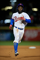 Buffalo Bisons center fielder Roemon Fields (37) running the bases running the bases during a game against the Pawtucket Red Sox on August 31, 2017 at Coca-Cola Field in Buffalo, New York.  Buffalo defeated Pawtucket 4-2.  (Mike Janes/Four Seam Images)
