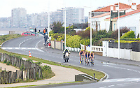28 APR 2012 - LES SABLES D'OLONNE, FRA - Carole Peon (right) leads the Poissy Triathlon team on the bike during the women's French Grand Prix Series triathlon prologue round in Les Sables d'Olonne, France (PHOTO (C) 2012 NIGEL FARROW)