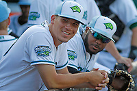 Daytona Tortugas pitcher Nick Howard (29), left and Phillip Ervin (6) right, before a game against the Clearwater Threshers at Radiology Associates Field at Jackie Robinson Ballpark on May 9, 2015 in Daytona, Florida. Clearwater defeated Daytona 7-0. (Robert Gurganus/Four Seam Images)