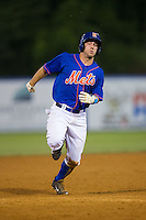 Kevin Kaczmarski (36) of the Kingsport Mets hustles towards third base against the Elizabethton Twins at Hunter Wright Stadium on July 8, 2015 in Kingsport, Tennessee.  The Mets defeated the Twins 8-2. (Brian Westerholt/Four Seam Images)