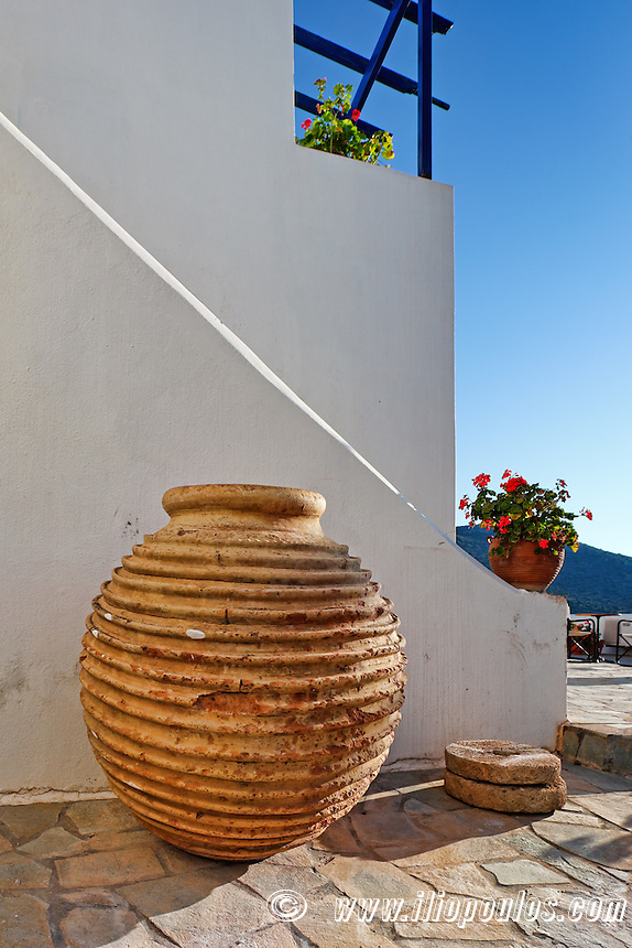 A traditional pot of mansion in Chora at Kythera island, Greece
