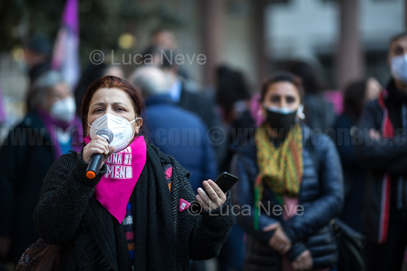 Non Una Di Meno member.<br /> <br /> Rome, Italy. 25th March, 2021. Today, Non Una Di Meno held a Demonstration and a die-in in Rome (1.) in support and solidarity with all the women living in Turkey and against the decision of the Turkish President, Recep Tayyip Erdogan, to pull his Country out of the Council of Europe Convention on Preventing and Combating Violence Against Women and Domestic Violence, also known as the Istanbul Convention (2.).<br /> <br /> Footnotes & Links:<br /> 1. https://www.facebook.com/events/489296152450753<br /> 2. https://www.coe.int/en/web/istanbul-convention/home <br /> Details of Treaty No.210: https://www.coe.int/en/web/conventions/full-list/-/conventions/treaty/210<br /> https://en.wikipedia.org/wiki/Istanbul_Convention