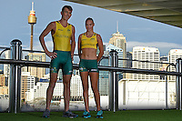 Sporting 2XU gear - Brad Scott and Torita Isaac / Para-Athletics<br /> 2016 APC RIO Uniform Launch with the city of Sydney as the backdrop shot from the Star Casino<br /> Australian Paralympic Committee<br /> Star Casino / Sydney / NSW<br /> Monday 6 June 2016<br /> © Sport the library / Jeff Crow