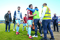 Jake Hegarty of Cobh Ramblers (centre) is congratulated at full time.<br /> <br /> Cobh Ramblers v Cork City, SSE Airtricity League Division 1, 28/5/21, St. Colman's Park, Cobh.<br /> <br /> Copyright Steve Alfred 2021.