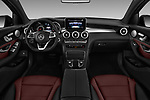 Stock photo of straight dashboard view of a 2018 Mercedes Benz GLC Coupe GLC300 4WD 5 Door SUV
