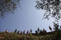 Nepali people waits for aid at Dhulikhel, outskirt of Kathmandu, Nepal. May 1, 2015