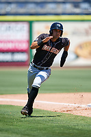 Jupiter Hammerheads second baseman Riley Mahan (2) rounds third base during a game against the Clearwater Threshers on April 11, 2018 at Spectrum Field in Clearwater, Florida.  Jupiter defeated Clearwater 6-4.  (Mike Janes/Four Seam Images)