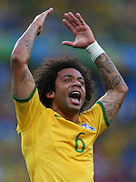 Marcelo of Brazil urges the supporters to get behind their team