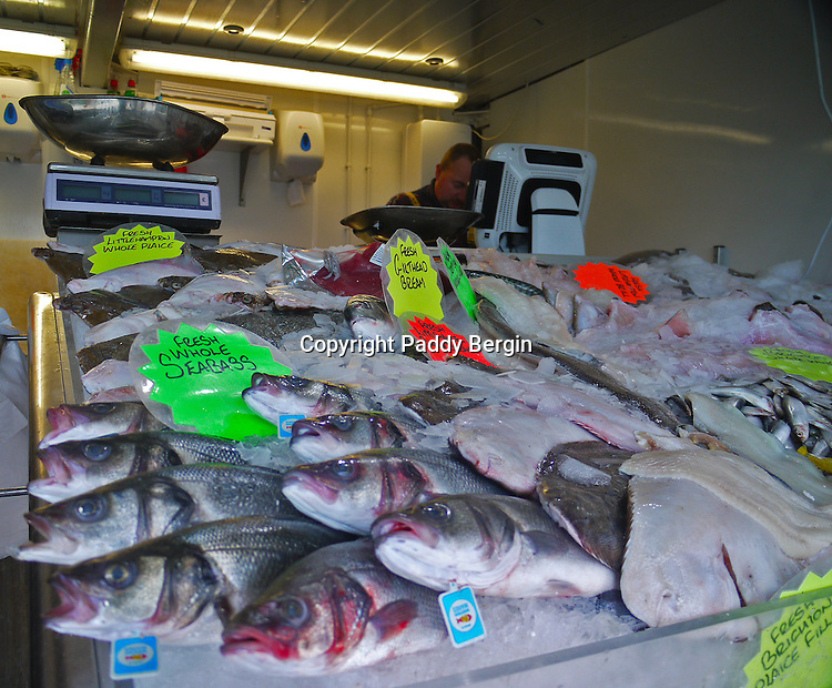 A fresh fish stall situated on the side of the River Arun and near the harbour and beach.<br /> <br /> Stock Photo by Paddy Bergin