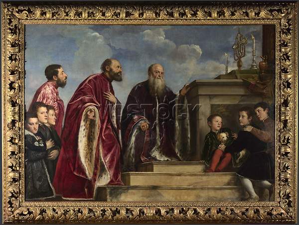 Full title: The Vendramin Family<br /> Artist: Titian and workshop<br /> Date made: begun about 1540-3, completed about 1550-60<br /> Source: http://www.nationalgalleryimages.co.uk/<br /> Contact: picture.library@nationalgallery.co.uk<br /> <br /> Copyright © The National Gallery, London